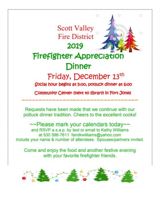 Holiday Firefighter Appreciation Dinner Invitation December 13, 2019