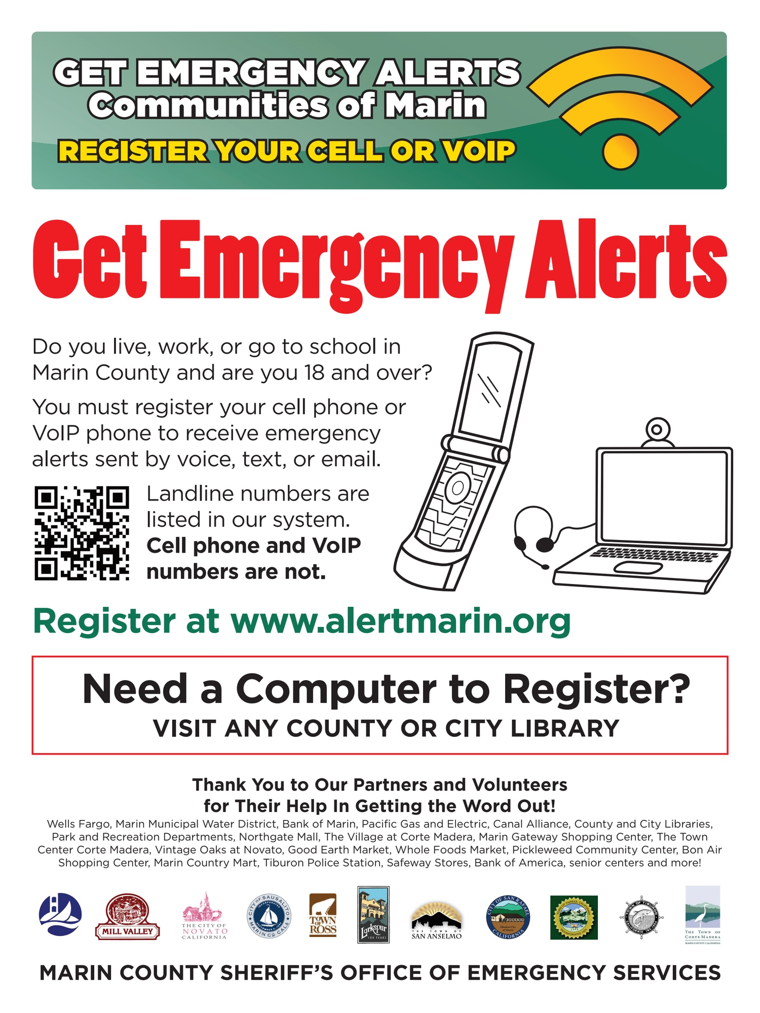 Get Emergency Alerts for Communities in Marin Poster