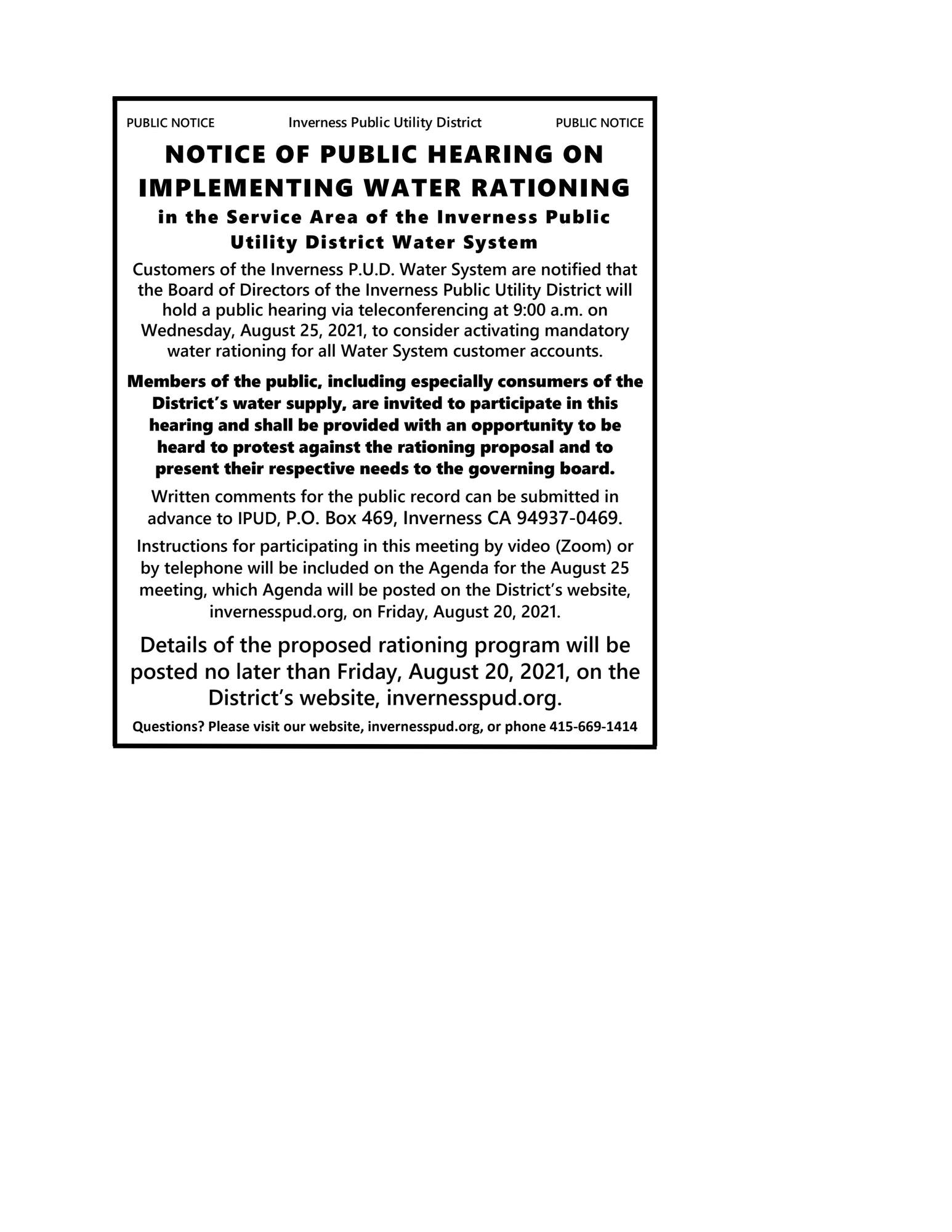 Public Hearing August 25, 2021 Notice