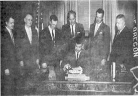 Oregon legislatures passing legislation to establish conservation districts in Oregon circa 1939.