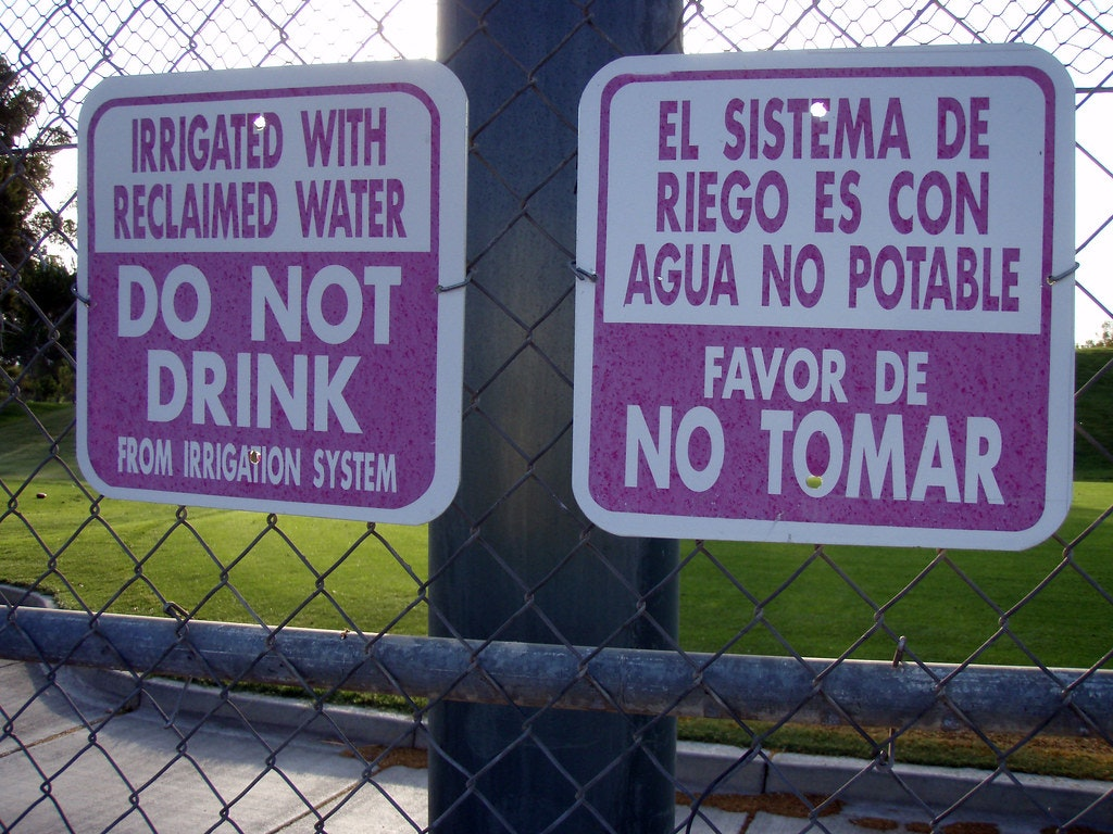 May contain: Reclaimed water signs