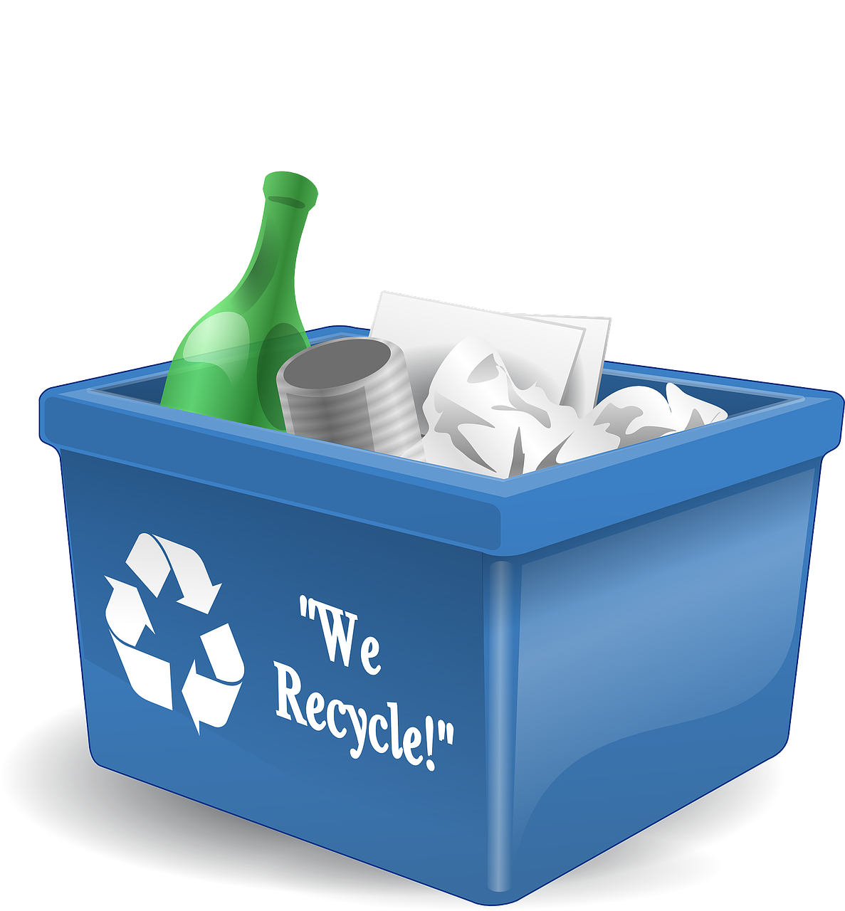 May contain: recycling symbol, and container filled with recycling materials