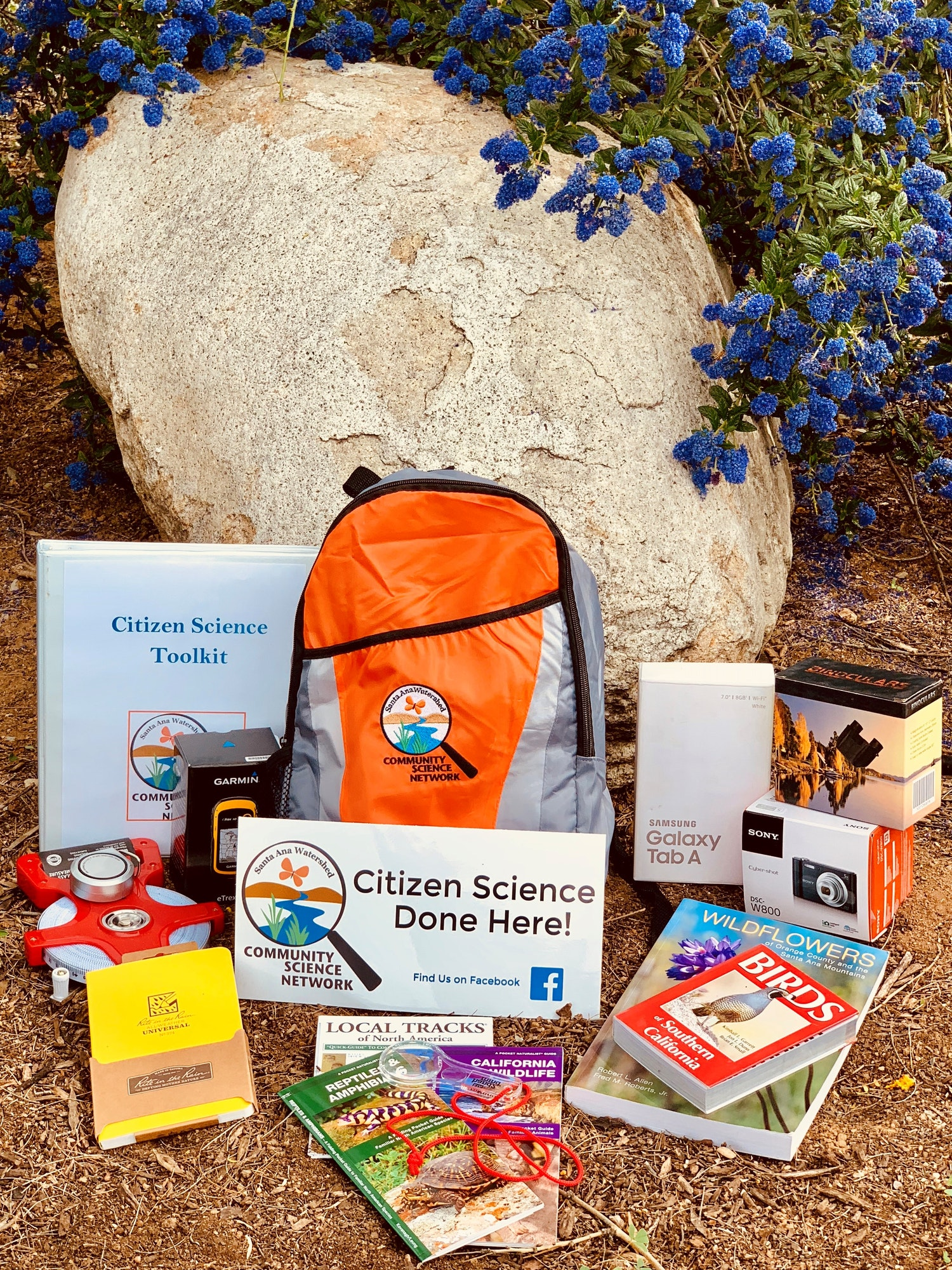 Image of Citizen Science Backpack with materials that can be checked out at our RCRCD outpost.
