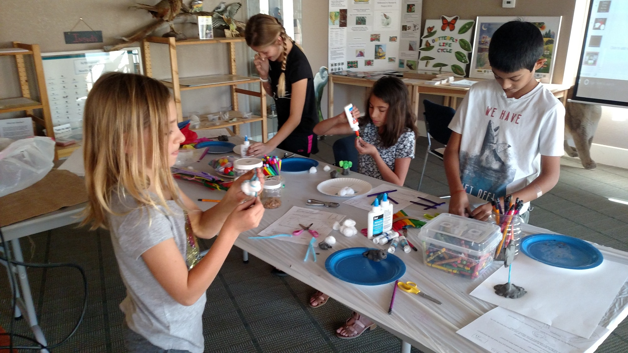 Homeschool students working on activities