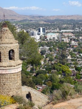 Image of Peace Tower on top of Mt. Rubidoux with views looking down on Riverside.