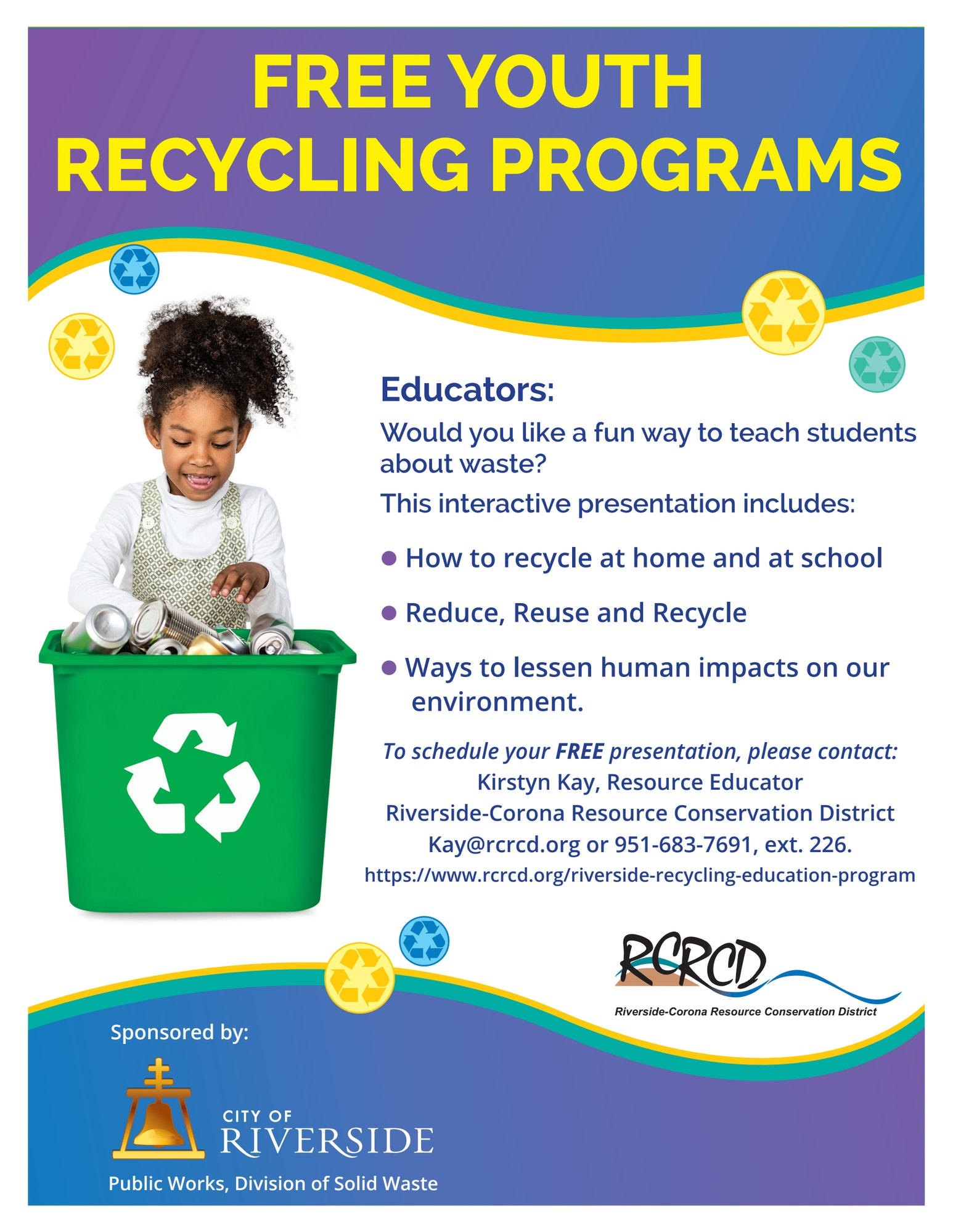Flyer of information for recycling program with image of little girl and a recycling bin.