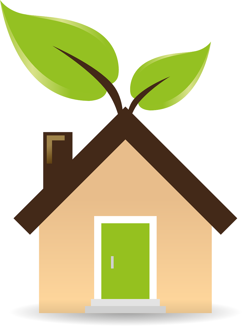"Image of a home with leaves on it representing a ""green"" or sustainably built home."