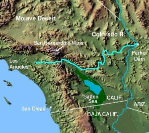Image of map showing Colorado River Aqueduct