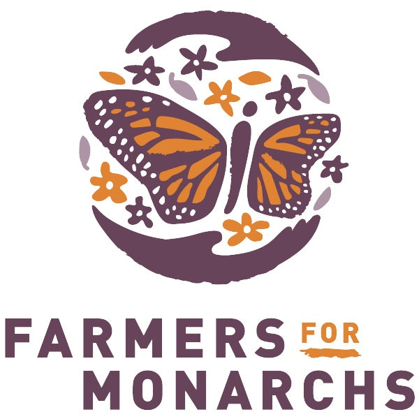Logo of Farmers For Monarchs with purple and orange butterfly