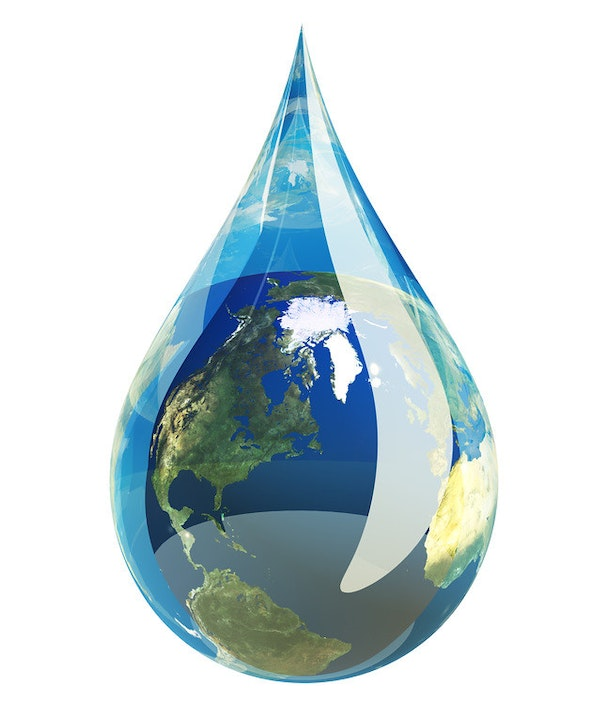 water drop surrounding the earth