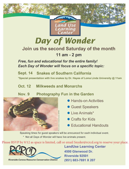 Flyer about Day of Wonder event on the topic of snakes!