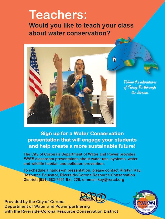 May contain: Flyer for Water Presentation for Schools in Corona, picture contains students raising their hands while someone presents. There is also a fish in the pictures along with some logos.