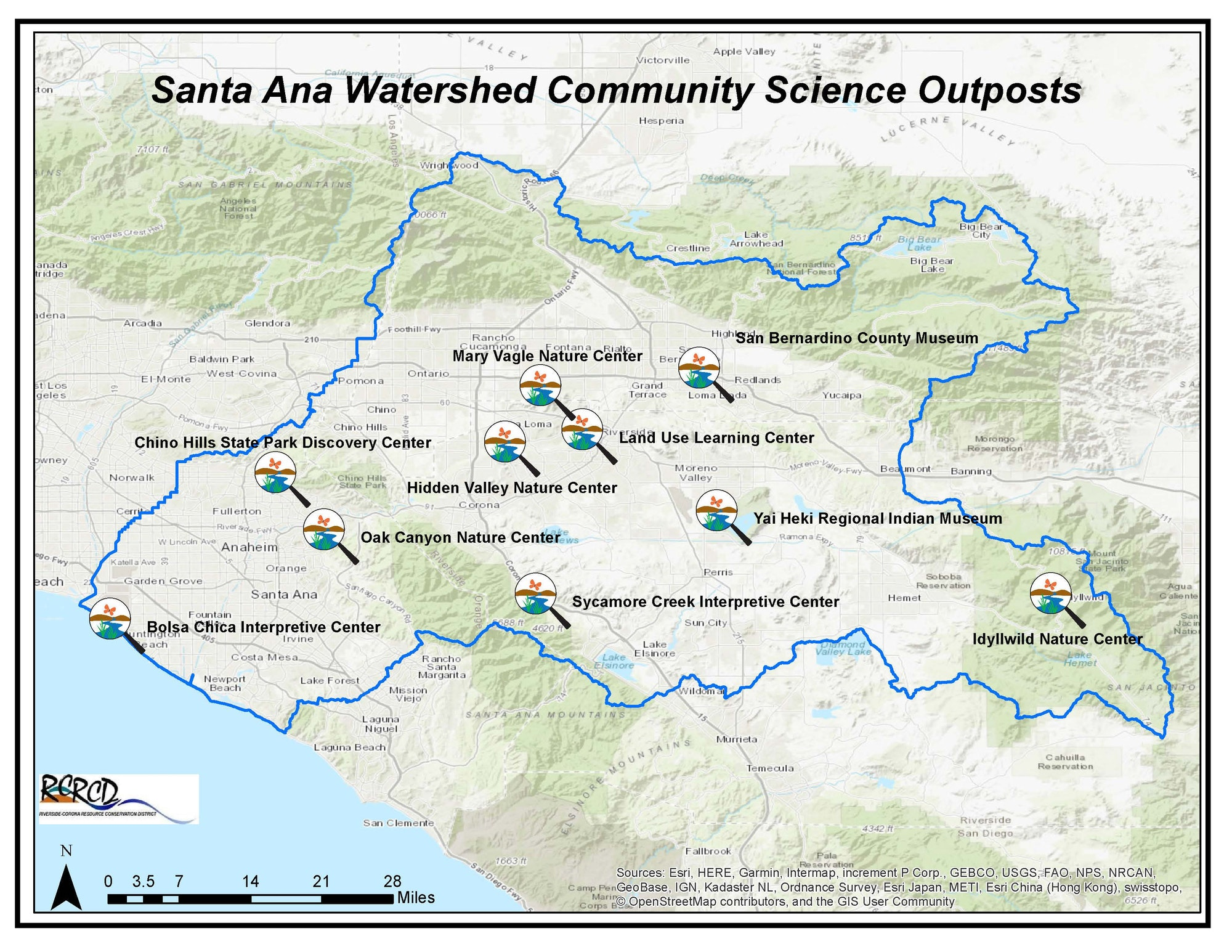 Map of the Santa Ana Watershed and location of Citizen Science Outposts