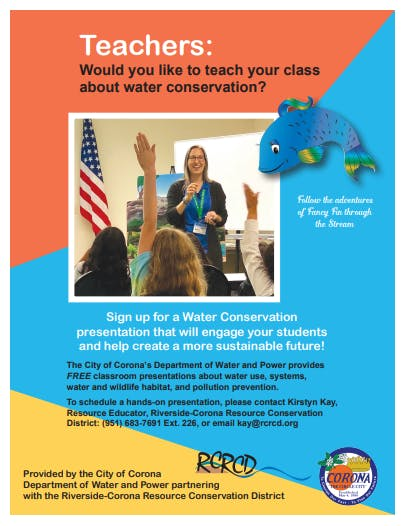 Flyer about Corona Water Education Program with picture of students raising their hands during a presentation.