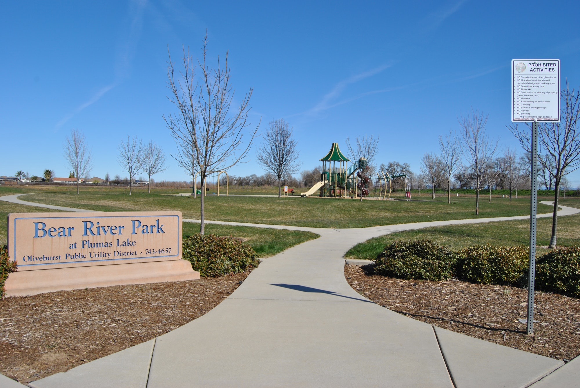 Bear River Park sidewalk and play structure.