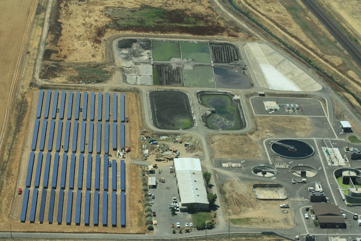 Ariel view of solar array at the wastewater treatment plant