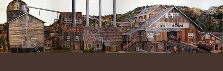 Panoramic picture of Westside Flume & Lumber Company Mill, built in 1898 in Tuolumne Township