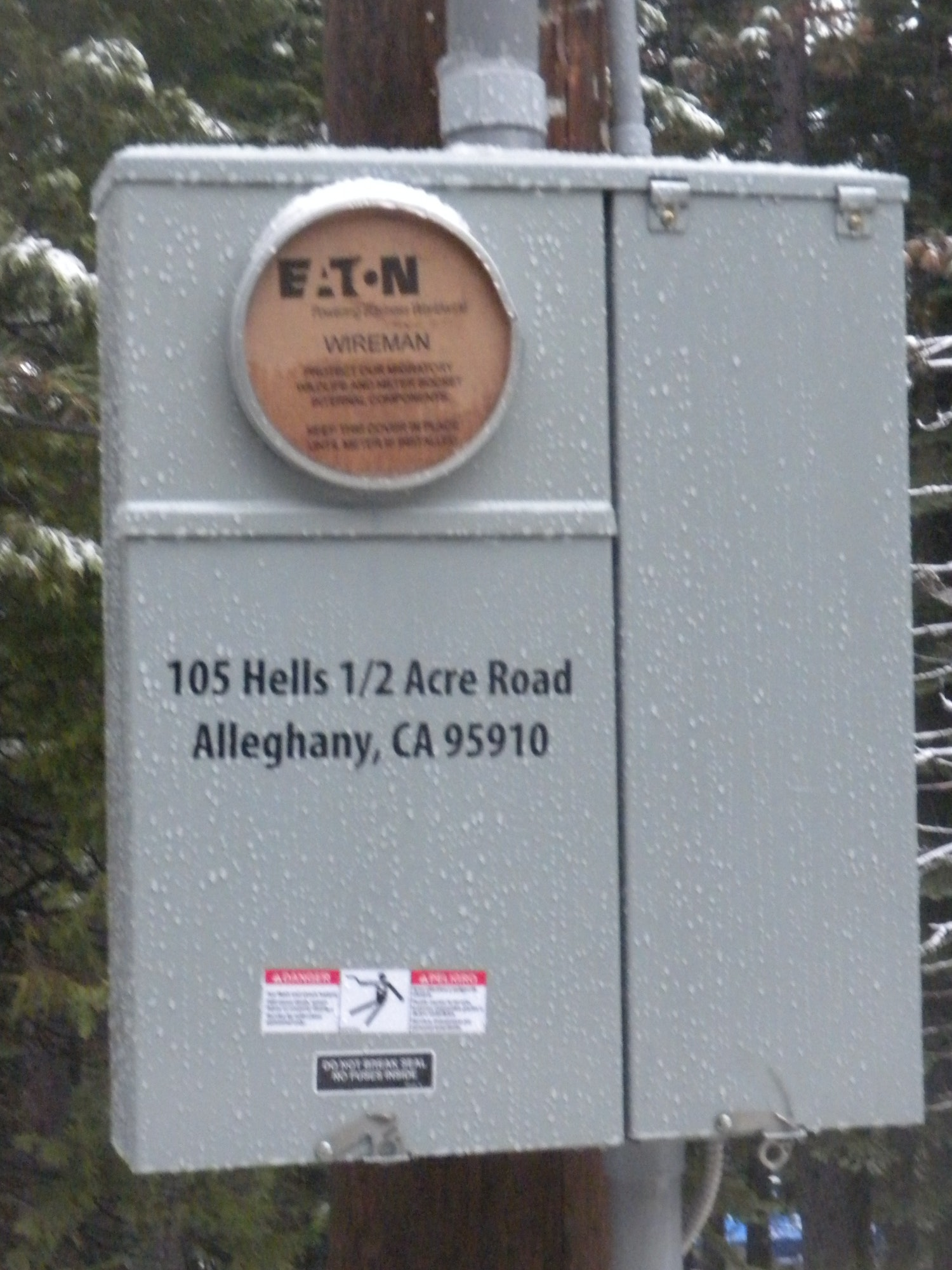 New meter box with the new address assigned to the tank site by Sierra County. Nov 28, 2018