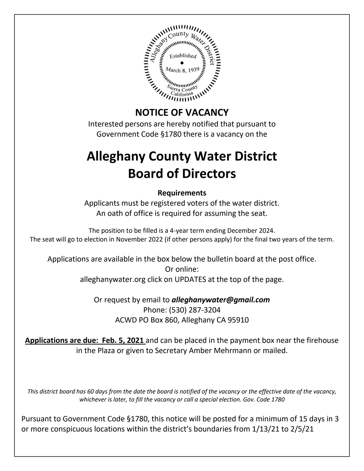 notice of vacancy
