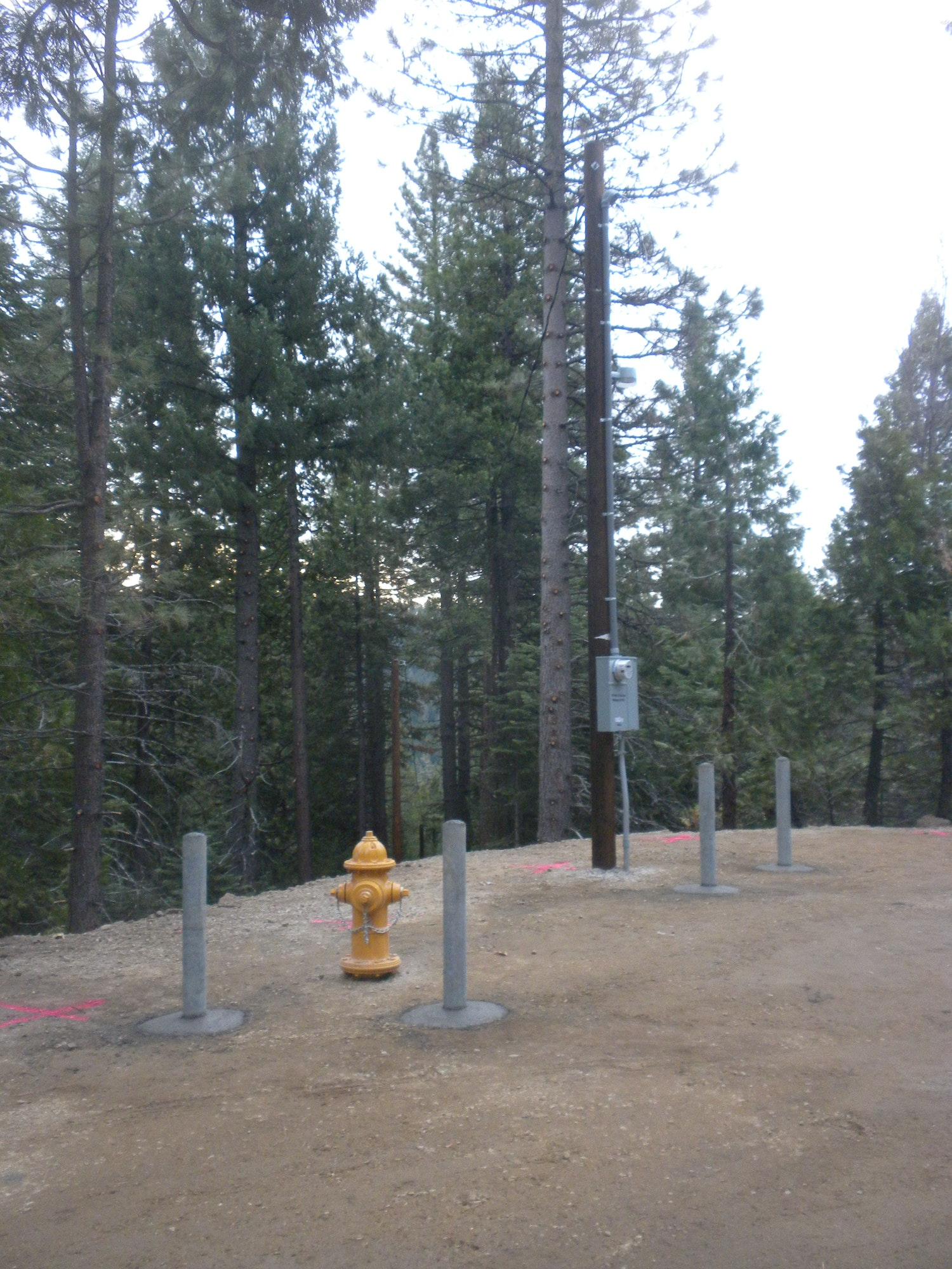 Bollards installed to protect hydrant and power pole. Dec. 14, 2018
