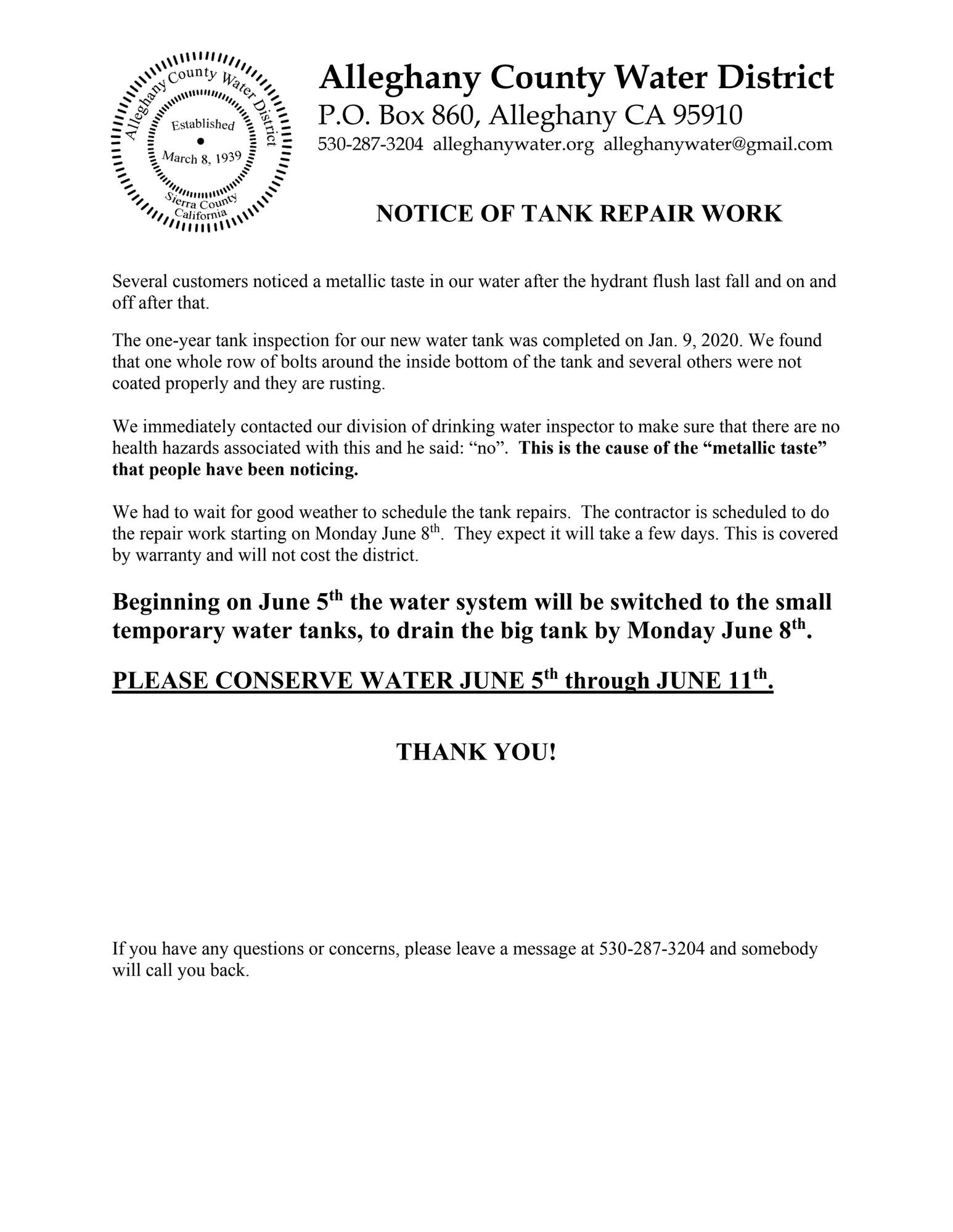tank repair notice June 2020
