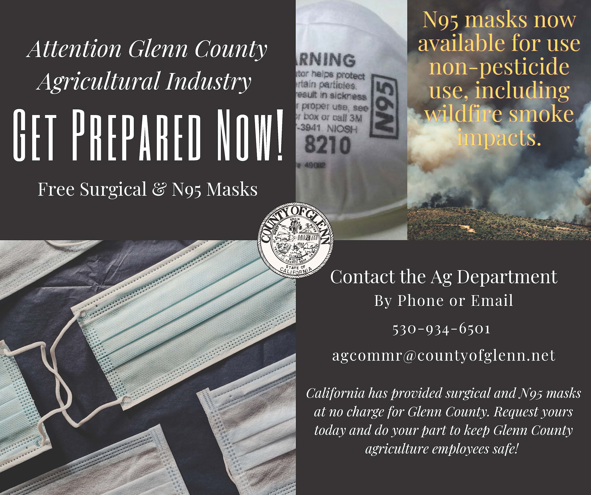 Contact Glenn County Ag Department for free surgical or N95 masks for agricultural employees
