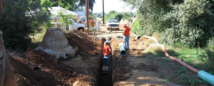 LOAPUD field crew replacing pipe: soil, human, and person