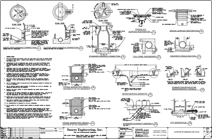 Standard Details drawing for sewer installation,