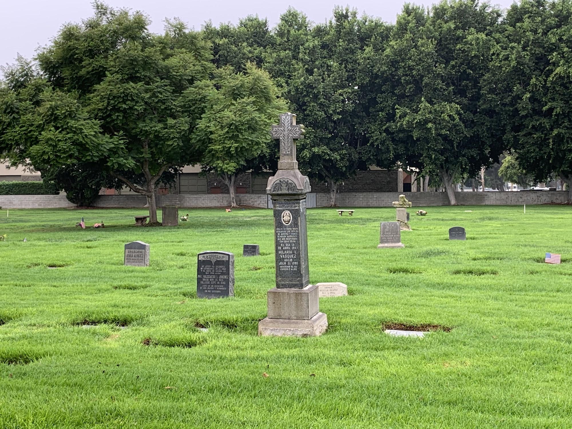 view of headstones