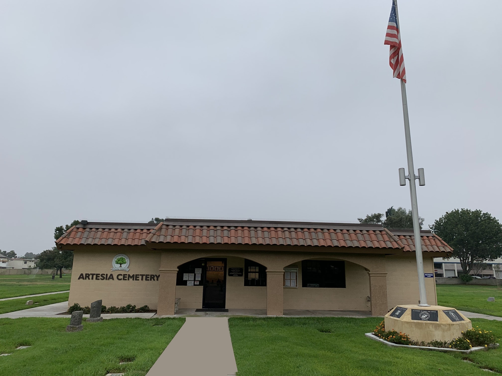 Front picture of cemetery office building