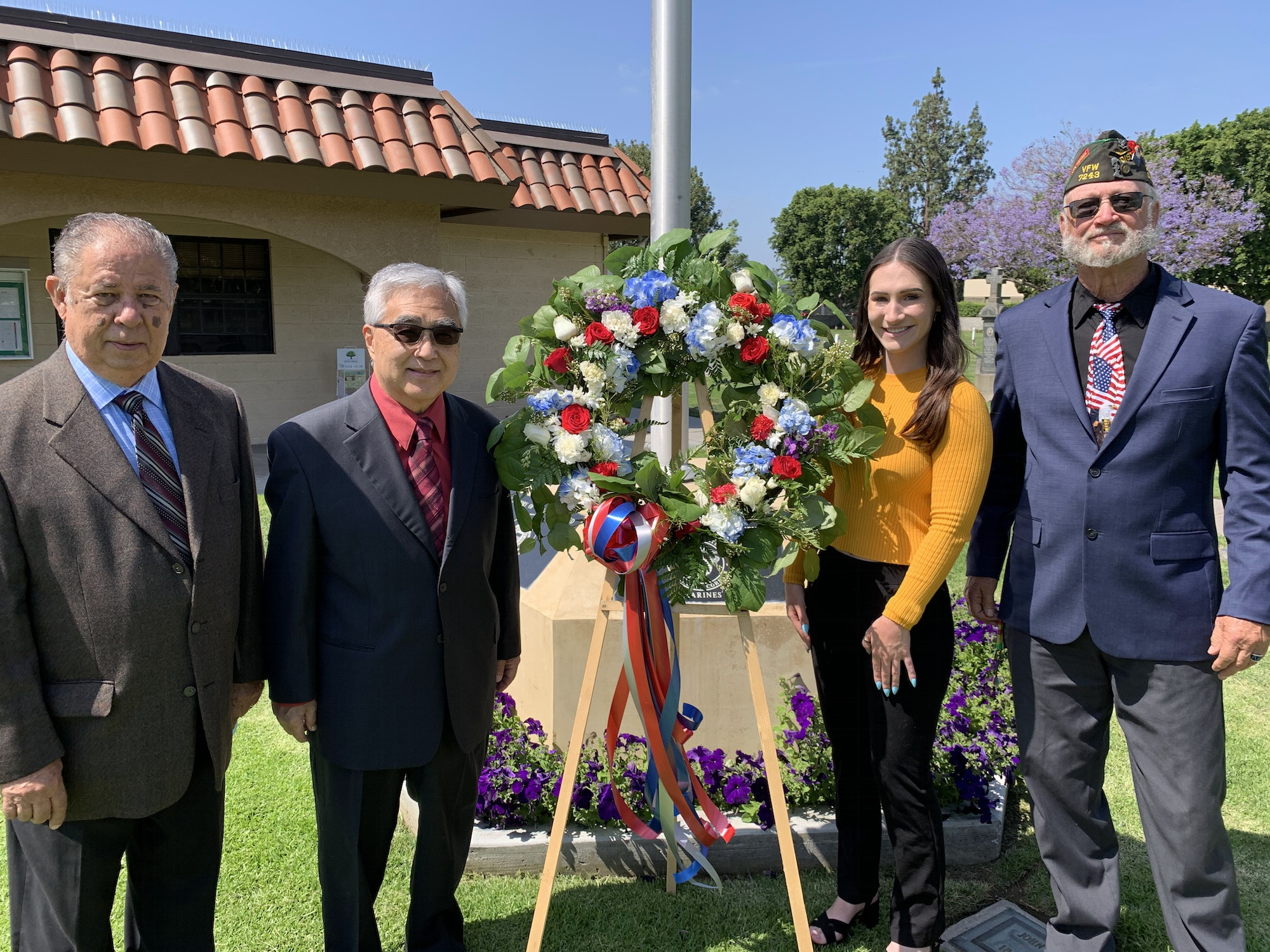 Board of Trustees present wreath for Memorial Day 2021
