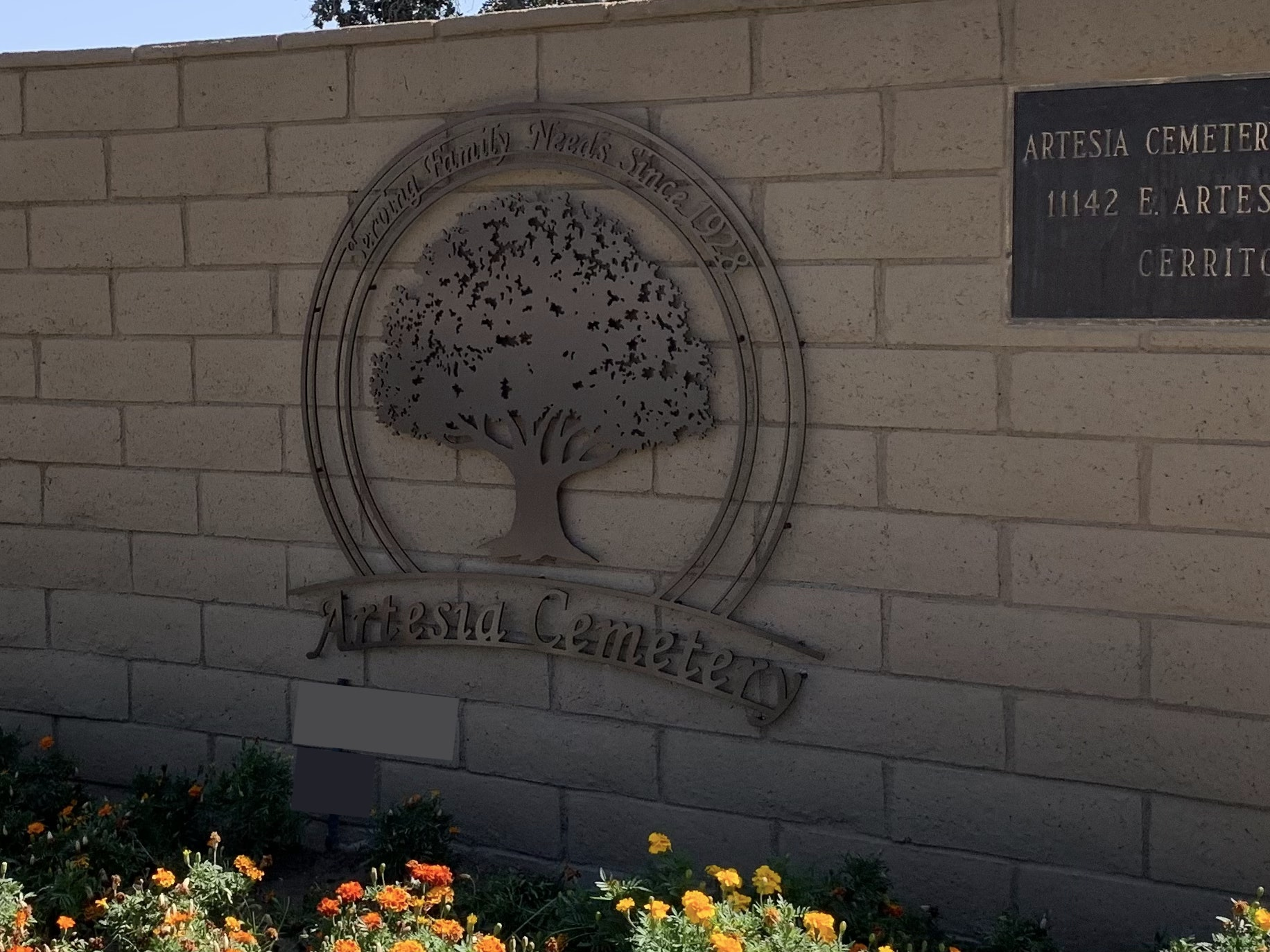 Cemetery Logo at entrance of cemetery