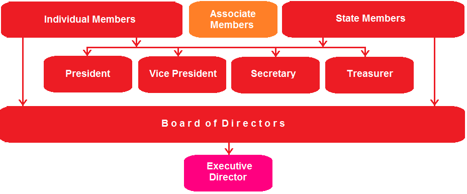 Inverted organizational chart for NAEFO