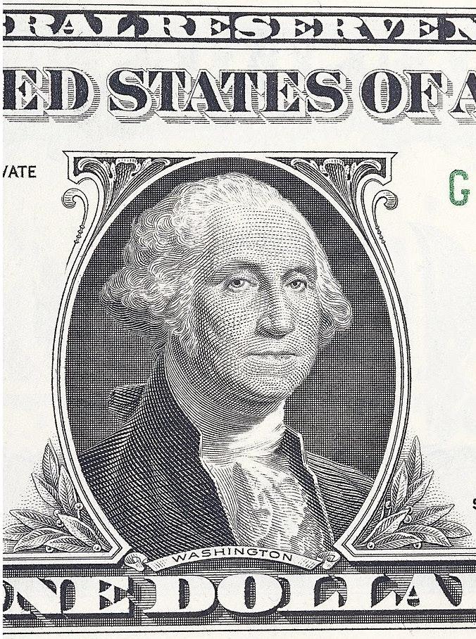 George Washington from a one dollar bill