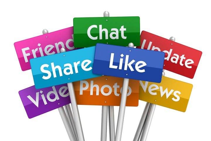 Signs with social media functions such as Like, Share, and Chat