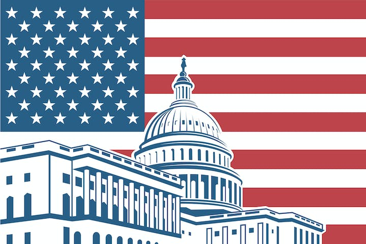 USA flag behind a drawing of the US Capitol building