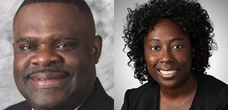EMS Division Chief Douglas Randell and Dr. Sylvia Owusu-Ansa smiling headshots