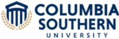 Drawing of the Corinthian Columbia Southern University building with laurel wreath underneath