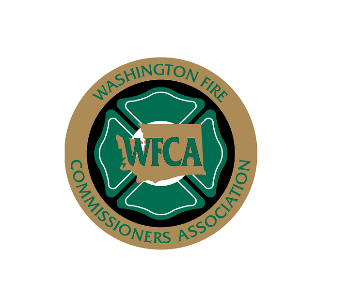 Washington Fire Commissioners Association Logo with Maltese cross and outline of the map of the State of Washington