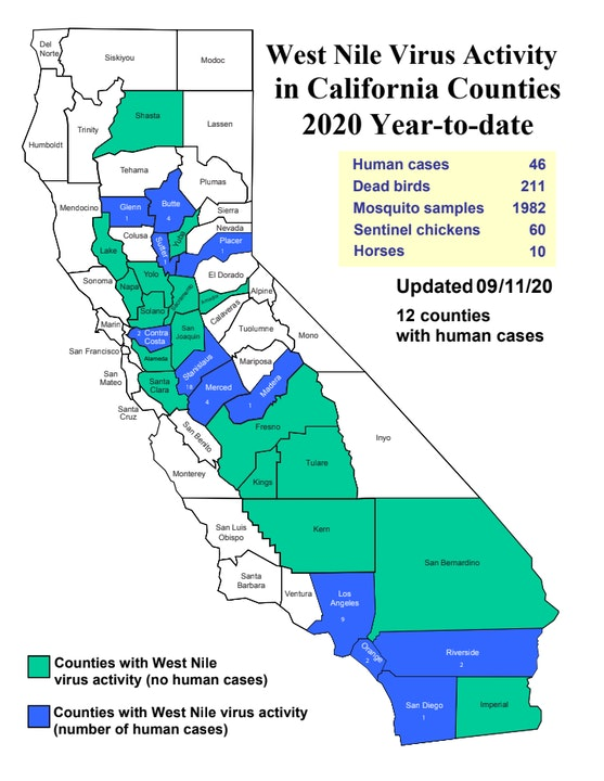 West Nile Virus Activity By County In California