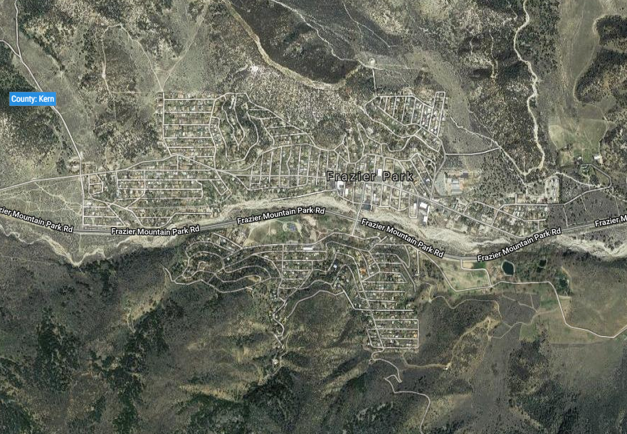 overhead photo of the Frazier Park area