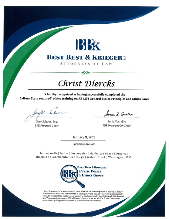 Board Member Chris Diercks' Ethic Training Certificate