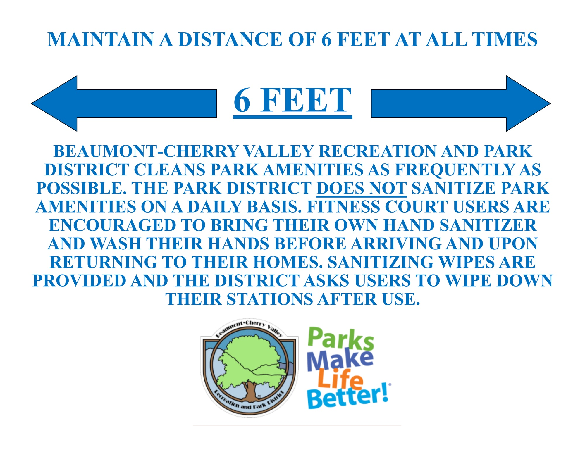 Please maintain 6 feet of distance and wipe down your stations after use