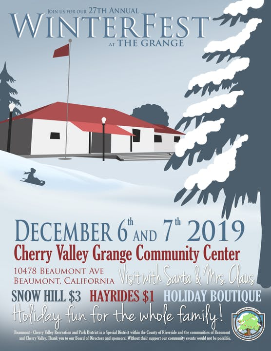 Winterfest, evenings of December 6 & 7 at the Cherry Valley Community Center.