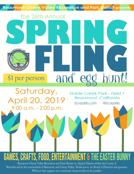 Spring Fling, April 20th, 9:00am -2:00pm at Noble Creek Park on Field #1