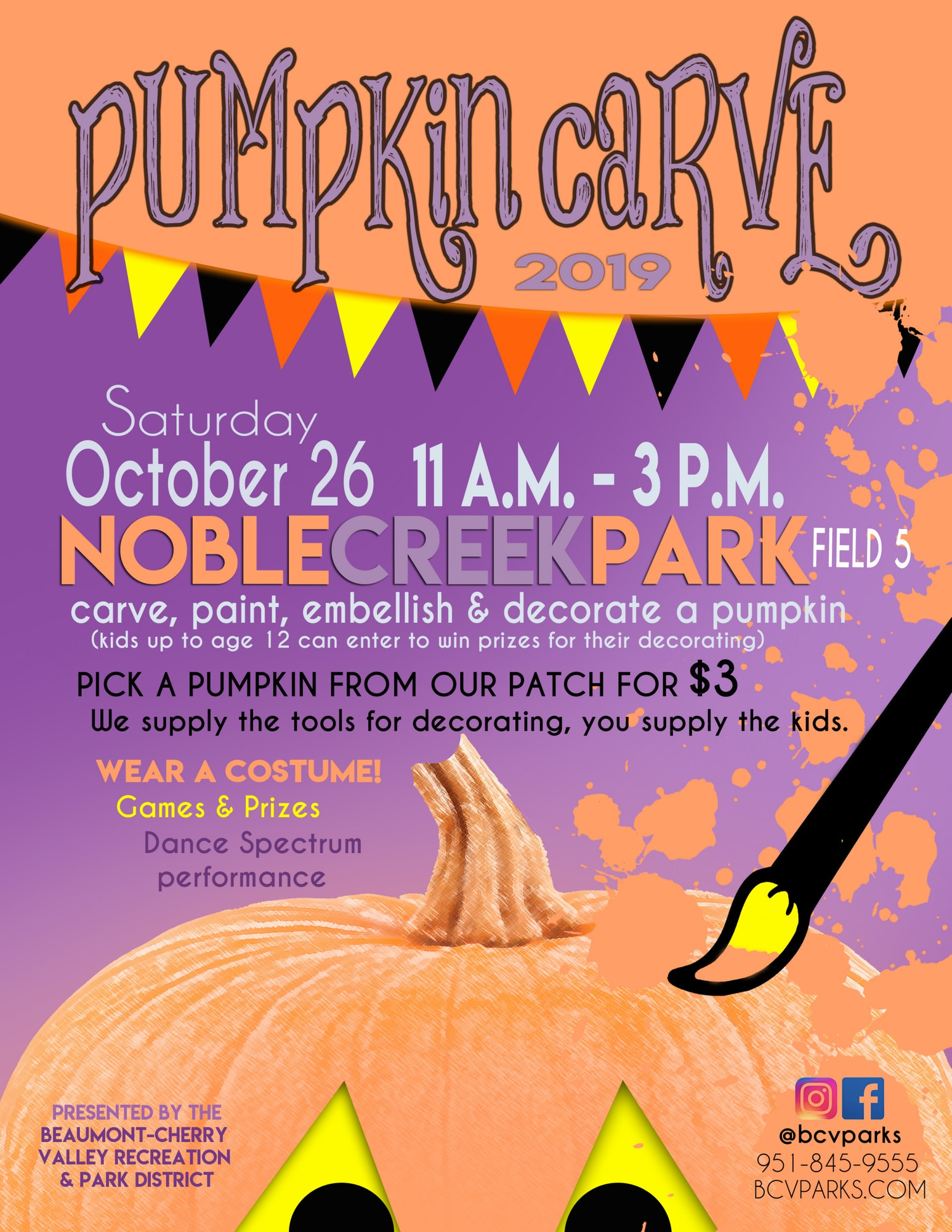 Pumpkin Carve, October 26th 11:00am - 3:00pm, Noble creek Park Field #5