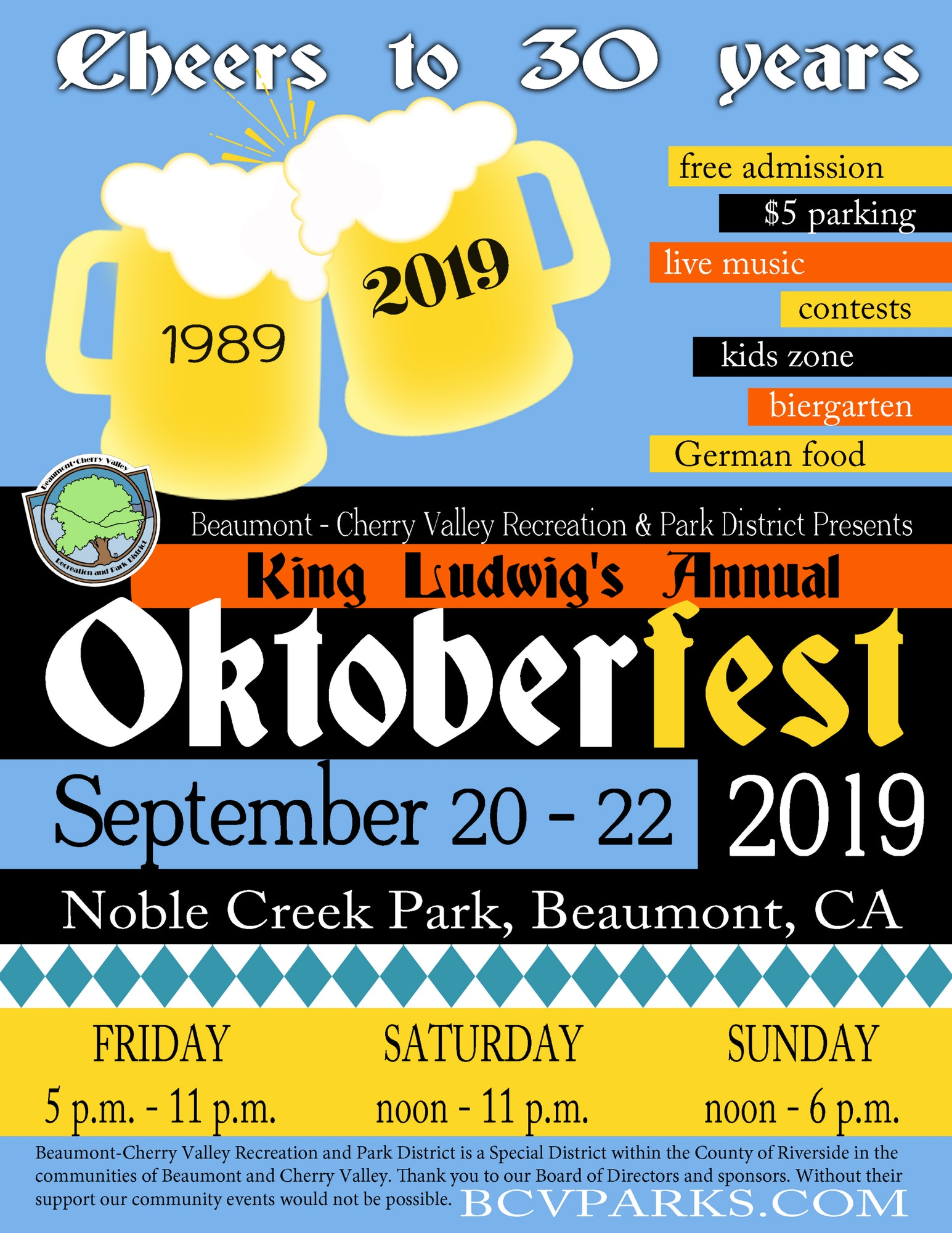 Oktoberfest, September 20th - 22nd evenings, Noble Park Creek on Field #1