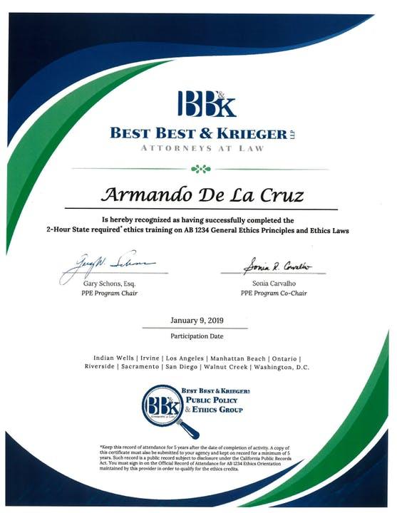 Board Member Armando De La Cruz's Ethics Training Certificate