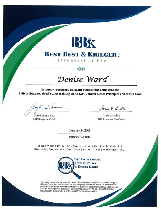 Board Member Denise Ward's Ethics Training Certificate