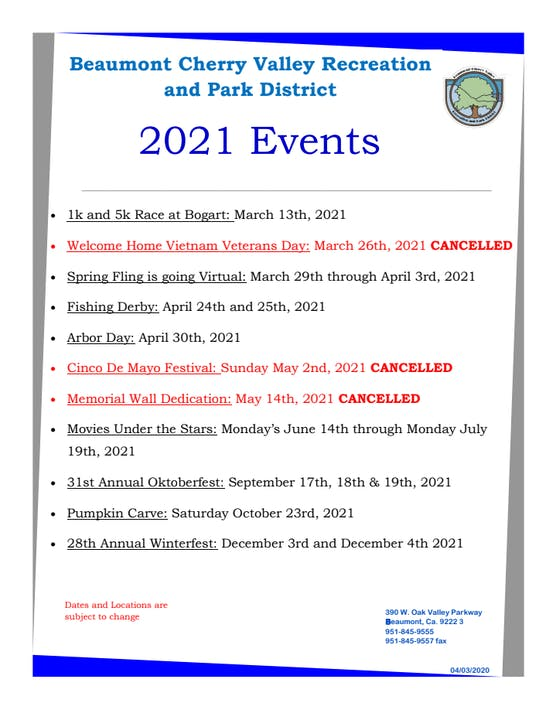 2021 Events List